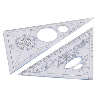 Unique BargainsPlastic Drawing Triangle Ruler Protractor Baby Blue 2 in 1 for School Students
