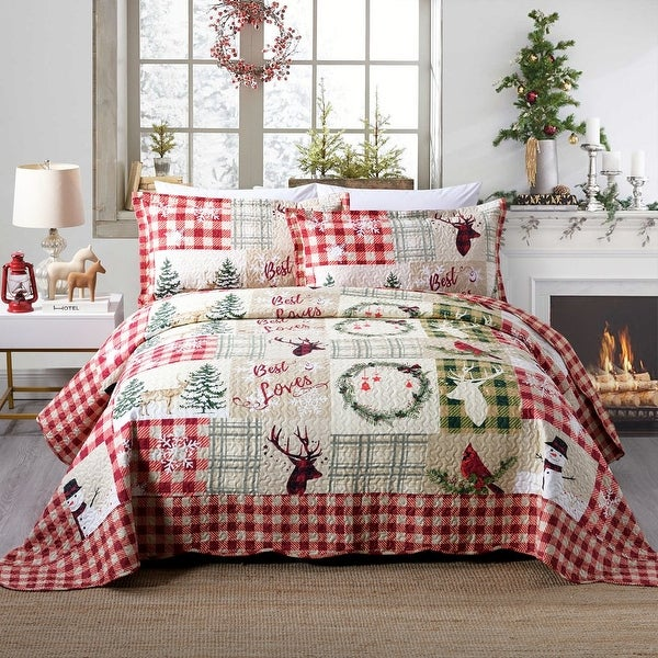 Rustic Patchwork Christmas Quilt Bedspread Set. Opens flyout.
