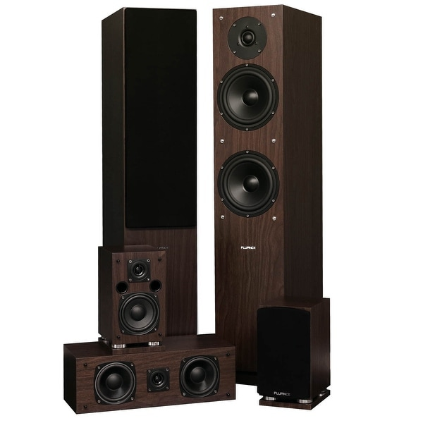 Fluance SXHTBW 5 Speaker Surround Sound Home Theater System - Natural Walnut