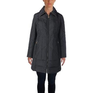 Anne Klein Womens Down Funnel Neck Coat