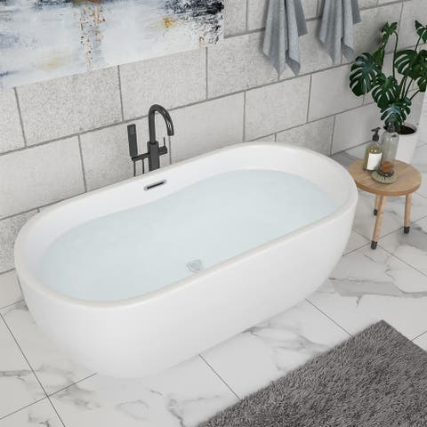 "67"" Acrylic Freestanding Bathtub White Oval Soaking Bathtub with Brushed Nickel Overflow and Drain"