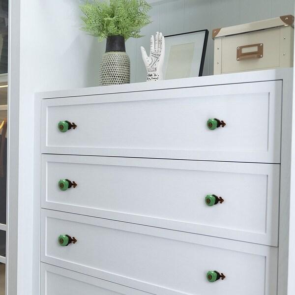 Ceramic Vintage Knobs Drawer Pull Handle Cupboard Wardrobe Dresser 6pcs Green