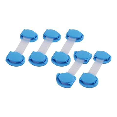 Cabinet Door Drawer Cupboard Fridge Guard Adhesive Safety Lock 5 Pcs - Blue,Clear