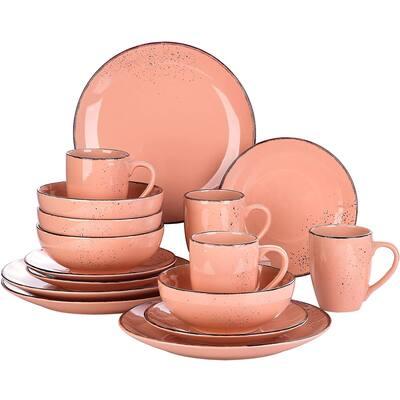 vancasso Navia Jardin Dinner Set Stoneware Vintage Look Ceramic,16 Pieces Pink - 8' x 10'