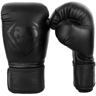 Venum Contender Hook and Loop Training Boxing Gloves - Black/Black