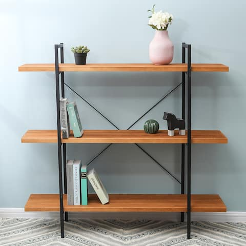 Brown Wood and Metal 48-inch 3-tier Open-shelf Etagere Bookcase