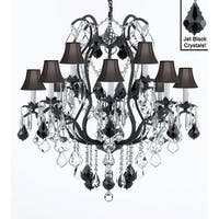 "Wrought Iron Crystal Chandelier Lighting Chandeliers H30"" x W28"" With Black Shades"
