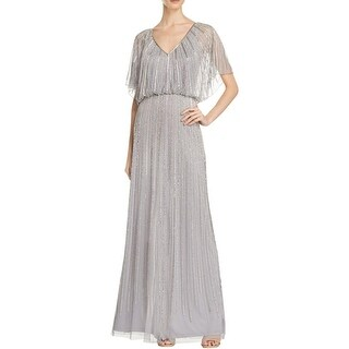 Aidan Mattox Womens Formal Dress Beaded Flutter Sleeves