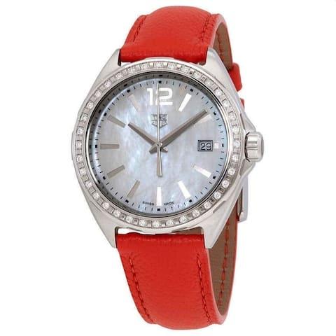 Tag Heuer Women's WBJ131A.FC8250 'Formula 1' Orange Leather Watch - Silver