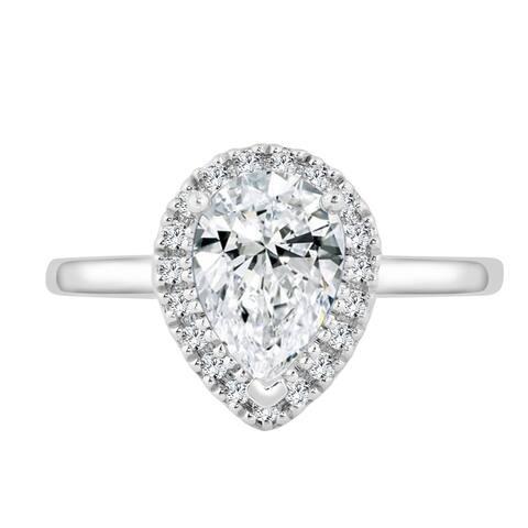 Auriya 14k Gold 1 1/2ctw Pear-cut Halo Diamond Engagement Ring