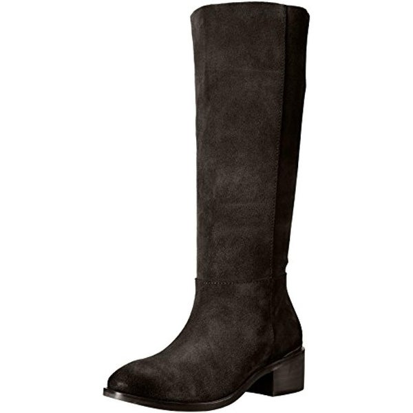 Naughty Monkey Womens Stride Riding Boots Suede Stacked Heel