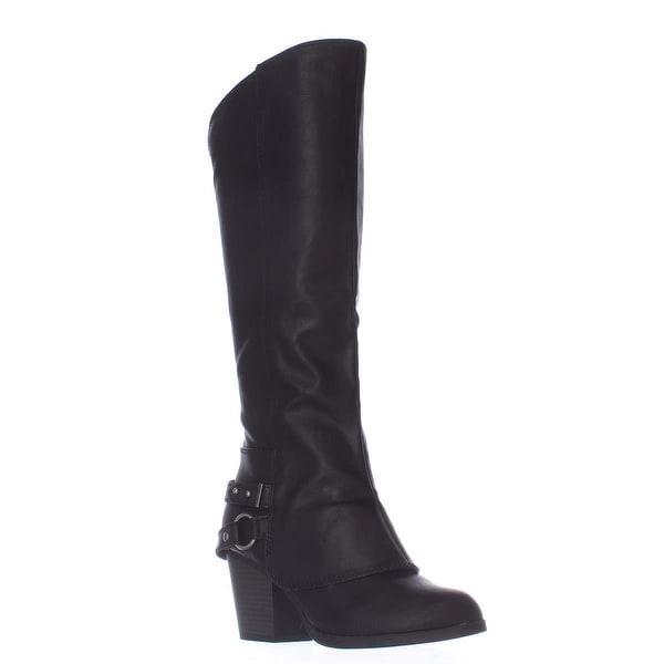 AR35 Eboni Cuffed Heel Boots, Black