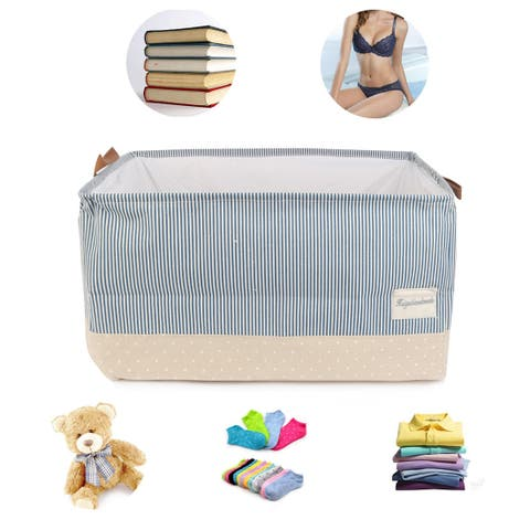 Collapsible Fabric Storage Basket Foldable Canvas Toy Bins for Laundry Clothes