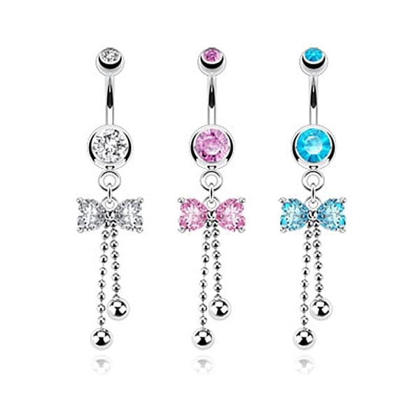 Ribbon CZ with Cascading Beads Dangle Navel Belly Button Ring 316L Surgical Steel