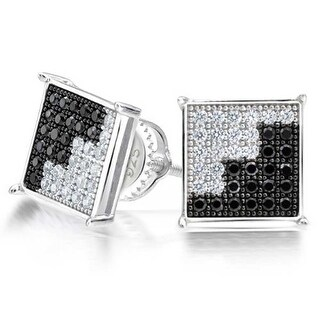 Bling Jewelry Black and White CZ Unisex Square Stud earrings 925 Sterling Silver 9mm