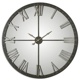 "60"" Emelie Oversized Round Mirrored and Distressed Bronze Roman Numeral Wall Clock - Silver"