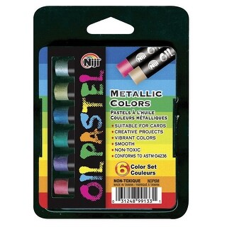 Yasutomo Niji Non-Toxic Oil Pastel Set, Metallic Color, Set of 6