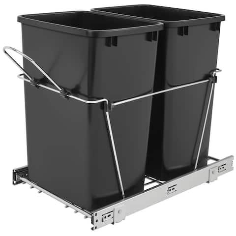 Rev-A-Shelf RV-18KD-18C S RV Series Bottom Mount Double Bin Trash Can