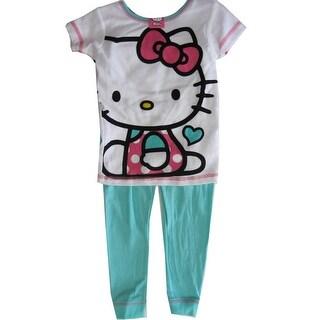 Hello Kitty Girls Blue White Kitty Print Short Sleeved 2 Pc Pajama Set 8