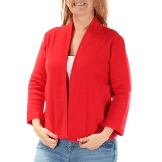 ANNE KLEIN $119 Womens New 1216 Red 3/4 Sleeve Open Cardigan Casual Top L B+B