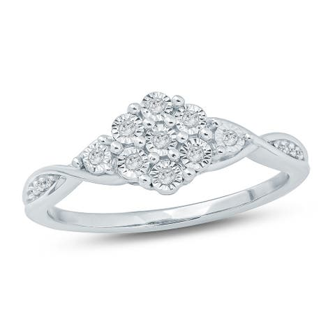 Cali Trove 1/10 Ct Round Diamond Miracle Plate Fashion Ring In Sterling Silver.