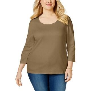 Karen Scott Womens Plus Casual Top Cotton Solid