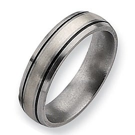 Chisel Sterling Silver Grooved Brushed and Antiqued Titanium Ring (6.0 mm)