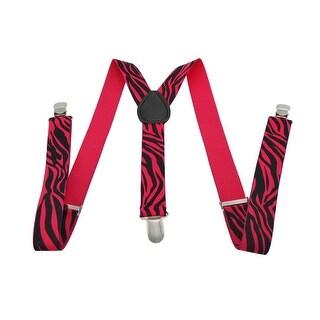 Fluorescent Neon Hot Pink and Black Zebra Print Suspenders