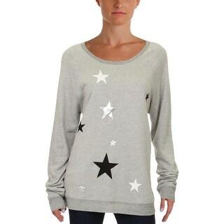 Sundry Womens Juniors Sweatshirt Contrast Trim Graphic