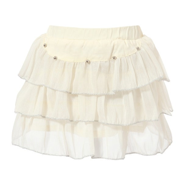 Richie House Girls' Leyered Skirt with Elastic Waistband