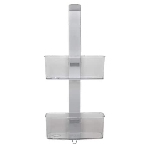 """Bath Bliss Adjustable Rust Proof Aluminum 2 Tier Glass Door Shower Caddy - 11.4""""x 27.2""""x 5.1"""""""