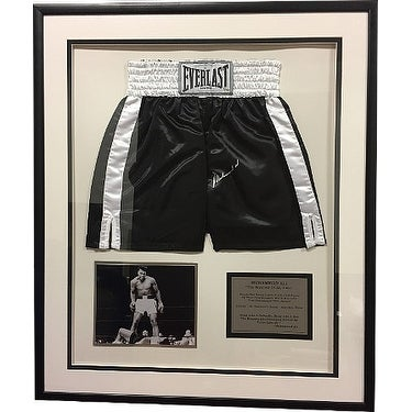 Shop Muhammad Ali signed Black Everlast Boxing Trunks 33x39 Framed w 8x10  Photo and Plaque deceased Onli - Free Shipping Today - Overstock - 19881501 f7fea1cfd