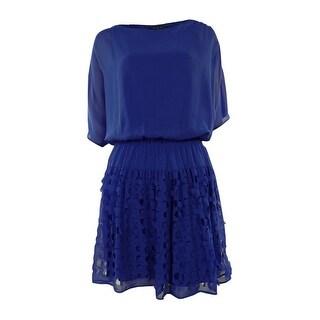 Perforated Split Dolman Blouson Chiffon Dress - 6