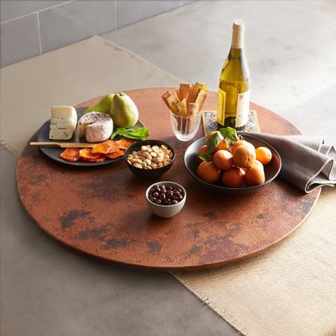 "Hammered Copper 36-inch Lazy Susan - 36"" Diameter"