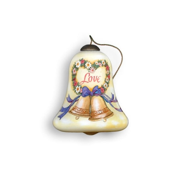 "Ne'Qwa ""Happy Anniversary"" Hand-Painted Mouthblown Glass Christmas Ornament #640 - WHITE"