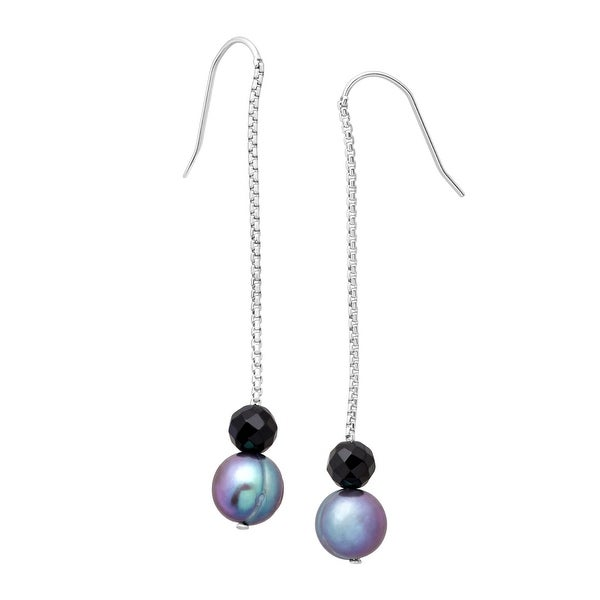 Honora Freshwater Ringed Blue Pearl & Onyx Bead Drop Earrings in Sterling Silver