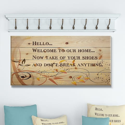 Designart 'Welcome to our home... Orange vines' Textual Entrance Art on Wood Wall Art - Brown