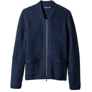 Nautica NEW Navy Blue Mens Size Large L Ribbed Full Zip Sweater