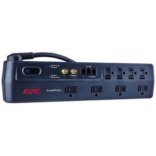 Apc 8-Outlet Surge Protector 2525 Joules With Telephone, Dsl And Coaxial Protection, Surgearrest (P8vt3)