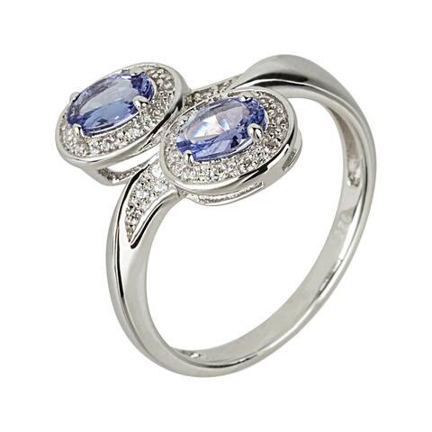 925 Sterling Silver Tanzanite,White Natural Zircon Ring