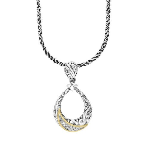Effy Jewelry Diamond Open Pendant in 926 Sterling Silver with 18K Yellow Gold Plating, 0.07 TWC