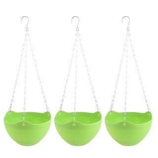 Balcony Garden Yard Chain Hanging Plant Flower Pot Holder Container Green 3pcs