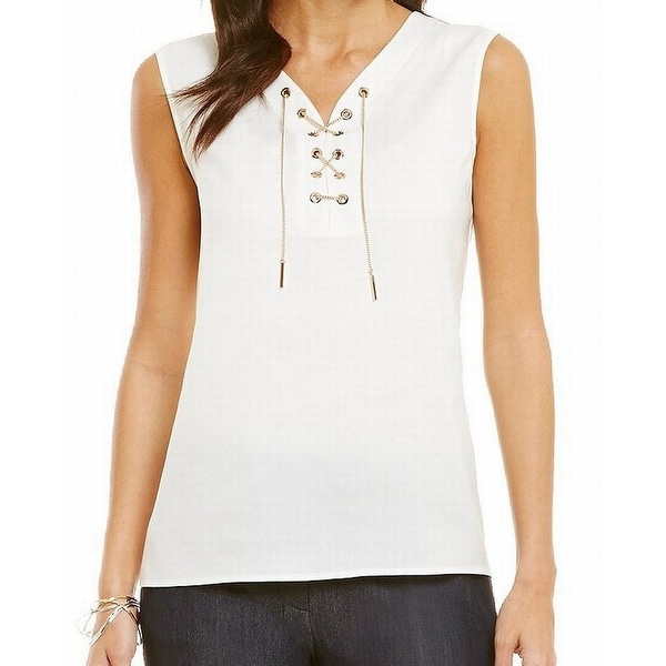 Tahari By ASL NEW White Women's Size Large L Chain Lace Up Blouse
