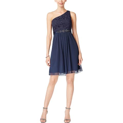 Adrianna Papell Womens One-shoulder Lace Sheath Dress, blue, 2