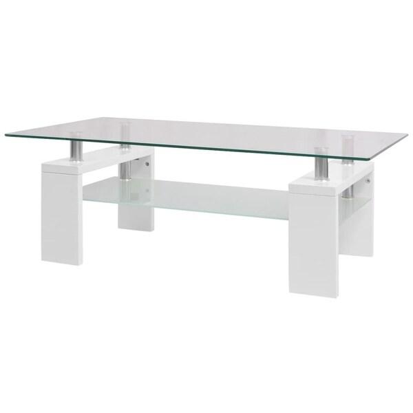 "Vidaxl High Gloss Coffee Table White: Shop VidaXL High-Gloss Coffee Table With Shelf 43.3""x23.6"