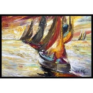 Carolines Treasures JMK1062MAT Red Sails Sailboat Indoor & Outdoor Mat 18 x 27 in.
