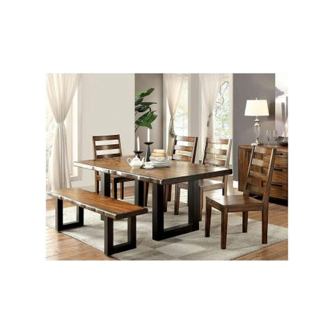 Dining Set in Tobacco Oak and Black Finish
