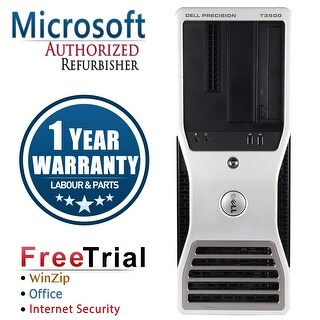 Refurbished Dell Precision T3500 Tower Xeon E5620 2.4G 4G DDR3 1TB DVD NVS295 Win 10 Pro 1 Year Warranty - Black