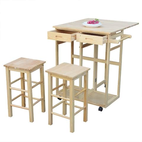 Kitchen Furniture Square Folding Dining Cart Bar Table with 2 Stools