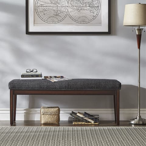 Gracewood Hollow Lessing Upholstered Espresso-finished Bench